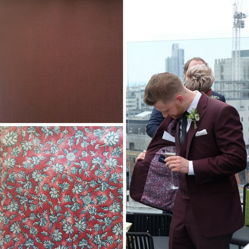 This King & Allen groom chose a floral lining in the same colour palette as his suit's cloth. It's a great way to bring in some pattern without being too bold.