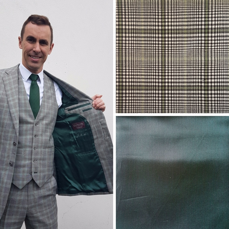 Our founder, Jake Allen, chose a dark green lining to highlight the check in his suit's cloth. The original cloth has now been discontinued, however, the cloth above is very similar in colour palette.