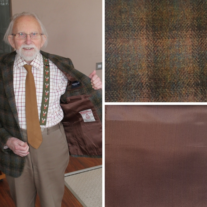 This gentleman chose a rich brown lining to match one of the colours in his Harris Tweed jacket. The cloth has a lot of detail, so it made sense to keep the lining simple.