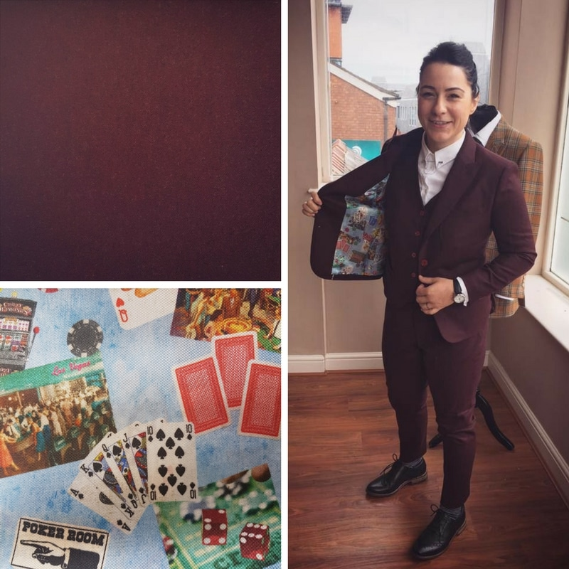 Always a fan of the fun linings, Lucy Spraggan chose a poker print for the inside of her burgundy suit. Because the cloth is solid and the colours in the lining are complementary, it works beautifully.