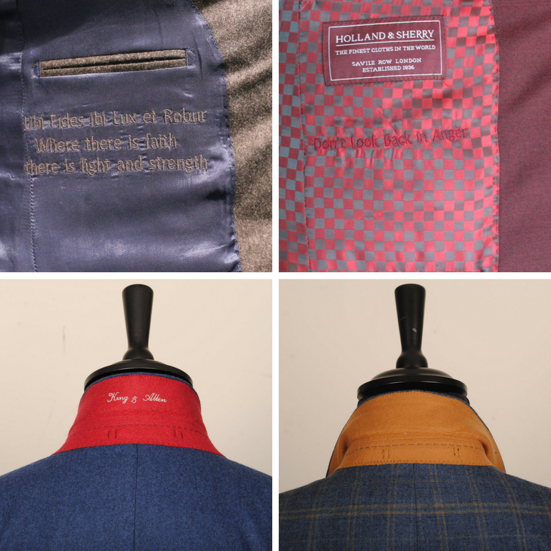 You can be as creative or as simple as you like when choosing your personalised embroidery. The contrasting melton is a fantastic way of adding a subtle pop of colour to your suit.