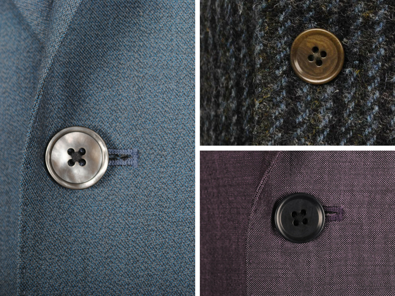 Whilst many customers choose to keep their buttons toned with the cloth of their suit, choosing a contrasting button can be very striking!