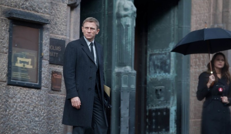Daniel Craig, as James Bond, in a fantastic example of a topcoat in Spectre