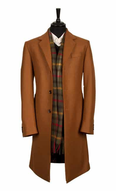 A camel cashmere overcoat from the King & Allen AW15 Collection
