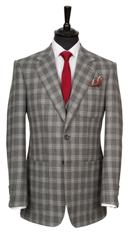 A bold, grey checked jacket from King & Allen's AW13 collection