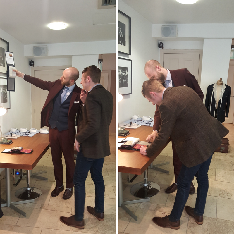 Choosing the cloth with Karl, the tailoring consultant at our Wilmslow store