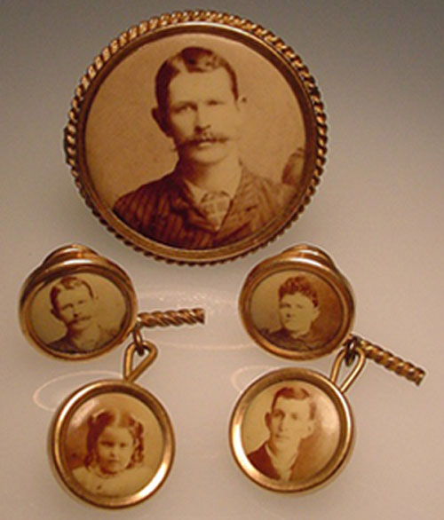 Family photo cufflinks, gold plated – ca. 1900