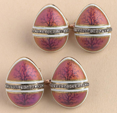 Fabergé egg cufflinks that were a gift from his mother to Tsar Nicholas II. Easter day – 1907
