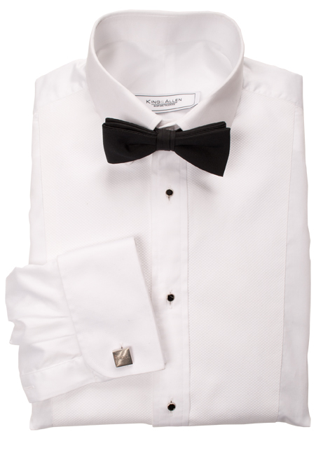 Dress shirt with rounded cuffs and stud button holes.