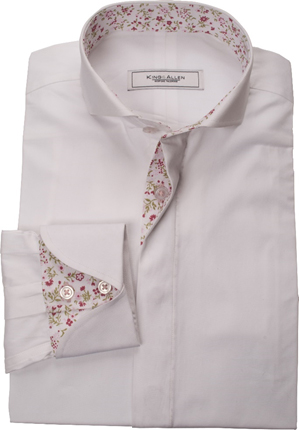 Tailored floral shirt from the King & Allen range - Note the unique shape of the cuff,  allowing a glimpse of the pattern beneath.