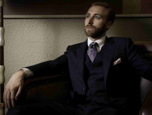 A navy blue worsted wool suit – an ideal choice for an interview suit